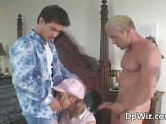 Slutty blonde gets dped as these two