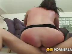 Milf takes huge cock in her asshole.