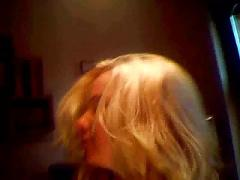 Blonde girl recording homemade porn