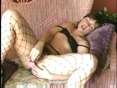 Girl in fishing net playing herself