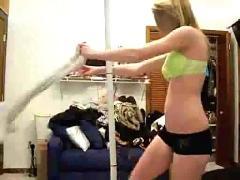 Webcam girl dances and strips