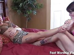Bella and leyla relax with a little foot worship