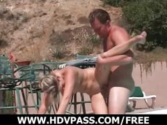 Blonde with big tits fucked at the pool