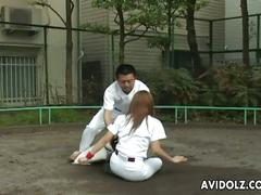 Kana kawai gets face fucked by her team colleague