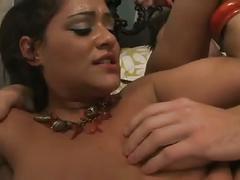 Curvy latin milf sucks and fucks
