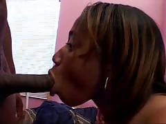 Ebony sucks and fucks his big black cock