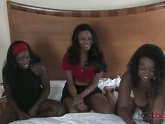 Strip memory with hot ebonies in hotel room.