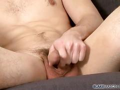 Jason stark strokes his long hard cock