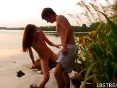 Outdoor cock and pussy fun with young teen