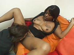 Busty ebony amateurs sharing huge white rod for hot threesome