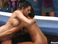 Sexy college girls wrestling in jam