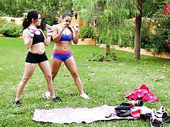 massage, lesbians, interracial, asian, public, sports, workout, outdoors, busty babes, all girl massage, nuru network, megan rain, adrianna luna