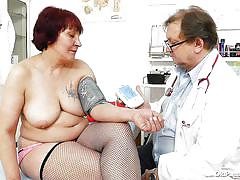 tattoo, big tits, fishnet, fingering, fat granny, clinic, vagina examination, redhead mature, old pussy exam, manka