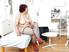 tattoo, big tits, fishnet, fingering, fat granny, clinic, vagina examination, redhead mature, old pussy exam, manka
