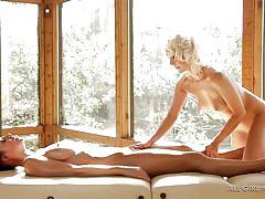 Lesbians enjoy a kinky massage
