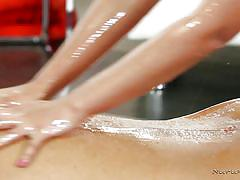 Asian hottie gives him a soapy massage