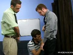 Office inspired hardcore anal threesome