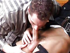 Gay hunk gets a load of jizzon his face