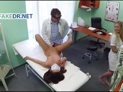 Nurse gets the patient ready for the doctor
