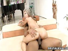 Nadia phuket rides huge black cock for drilling.