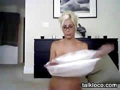 Busty blonde cam slut with glasses