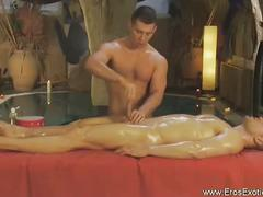 Hunky studs in hot erotic gay massage