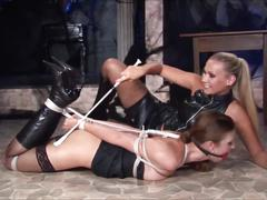 Hot & horny lesbian in leather 2