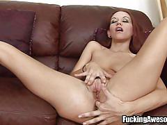 Redhead babe sucks my cock