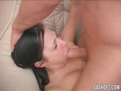 Jessica gets rough gagging and dick slapping