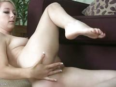 Blonde in pink panties masturbates