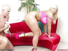Lustful chubby blonde is on her knees