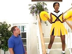 Ebony cheerleader showing off her skills