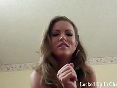 Your cock barely fits in its plastic cage