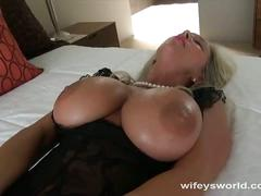 Busty milf wifey stroking big cock