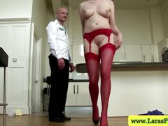 Mature stockings milf showing ass off in the kitchen