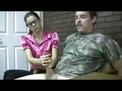 Nerdy girl gives femdom handjob