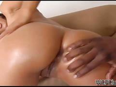 Hot brunette latina isis rides a black cock