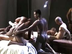 Horny latino stud is getting fucked by black cocks
