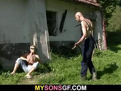 Horny girl cheats with her bf's dad outdoors