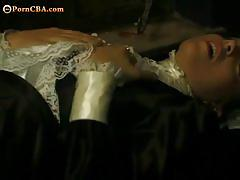 Brunette maid gets trimmed pussy licked and fucked