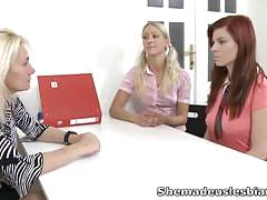 Sexy lesbian threesome with toys and teacher.