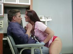 Horny nurse mischa is fucked hard to collect sperm