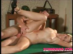 Hot blonde darina gets banged on the pool table