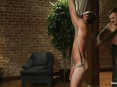 Tied up sex slave teased by a rough gay master