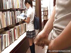 Pervert in book store fucks cute japanese teen