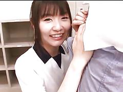 Japanese babe licks the tip