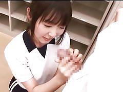 Japanese babe licks the tip