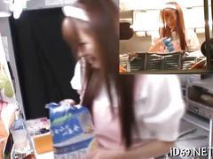 Asian teen fingered in a hot dog van in public