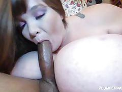 Brunette bbw lexxxi luxe fucking a big black cock.
