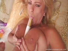 Sexy mature blond veronica fucks diana with toys!